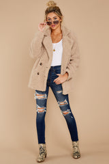 3 City Nights Tan Sherpa Coat at reddressboutique.com