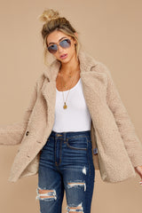 4 City Nights Tan Sherpa Coat at reddressboutique.com