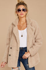 5 City Nights Tan Sherpa Coat at reddressboutique.com