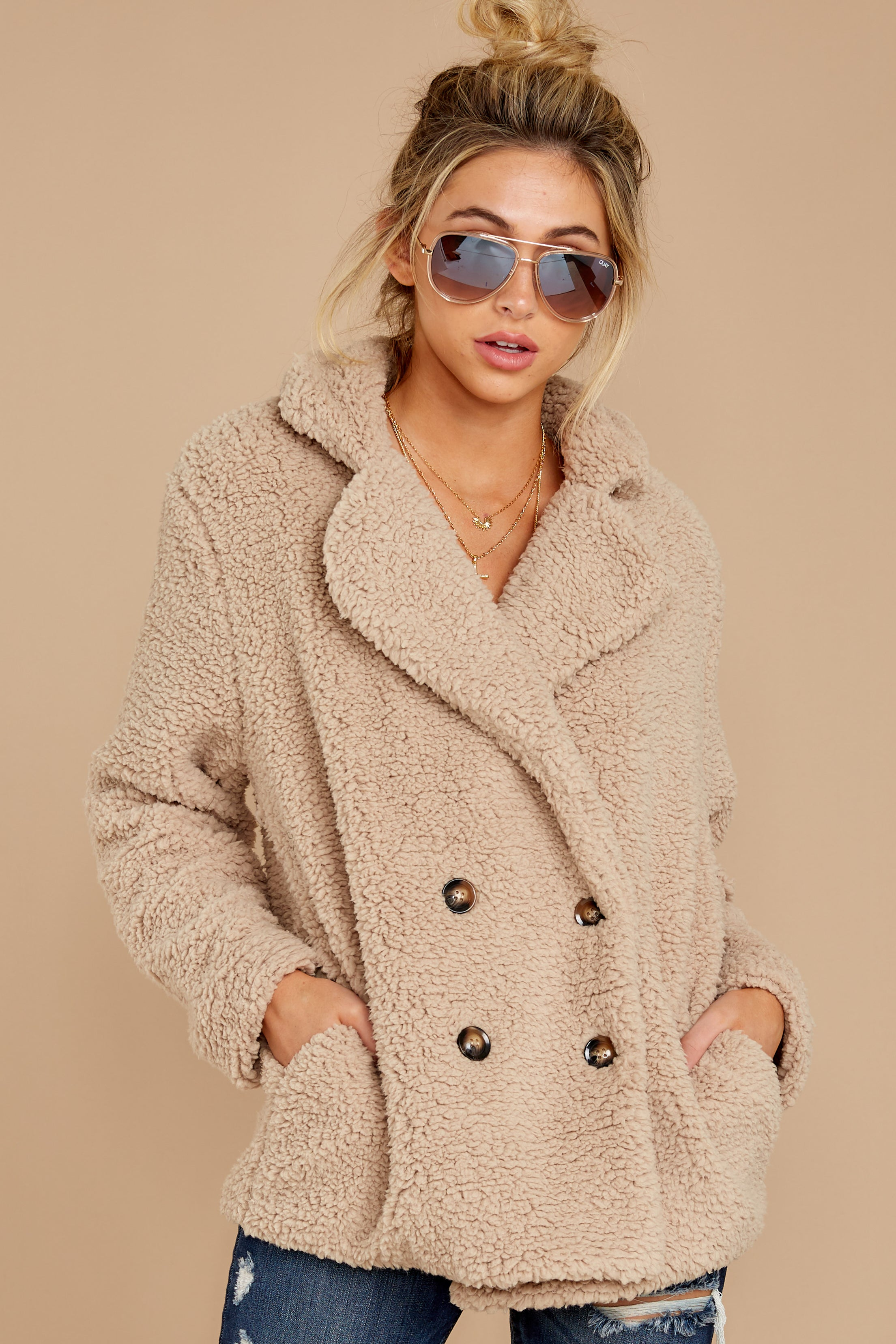 8 City Nights Tan Sherpa Coat at reddressboutique.com