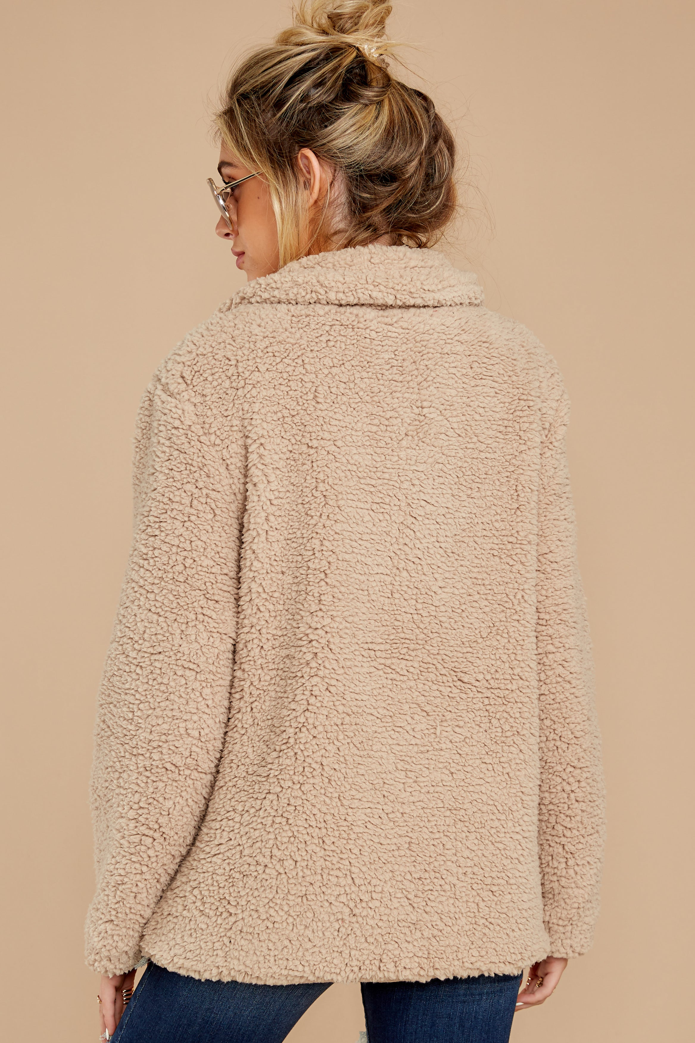 9 City Nights Tan Sherpa Coat at reddressboutique.com