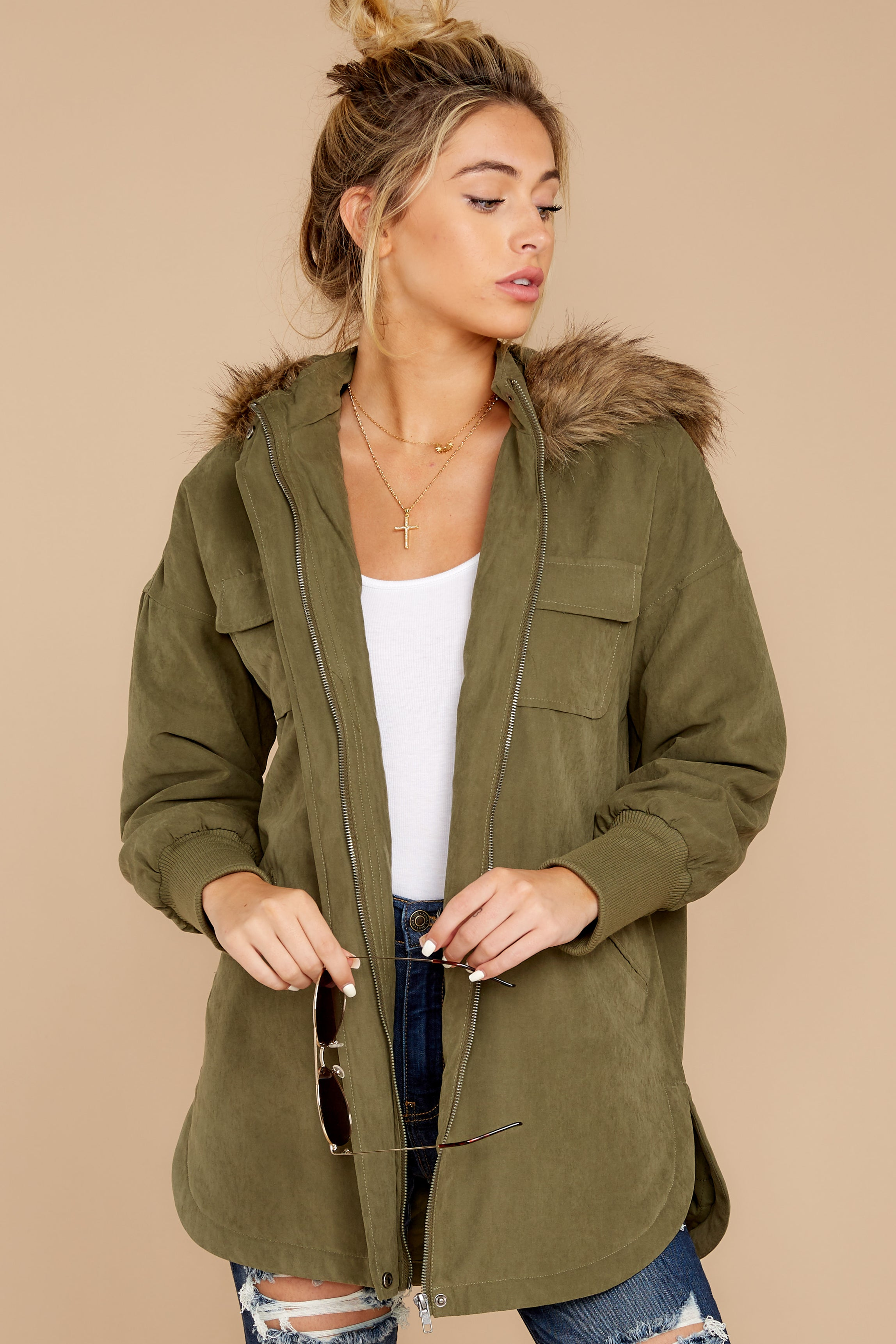 Colder Days Olive Green Coat