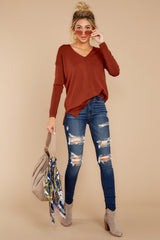 2 Give It A Rest Copper Sweater at reddressboutique.com