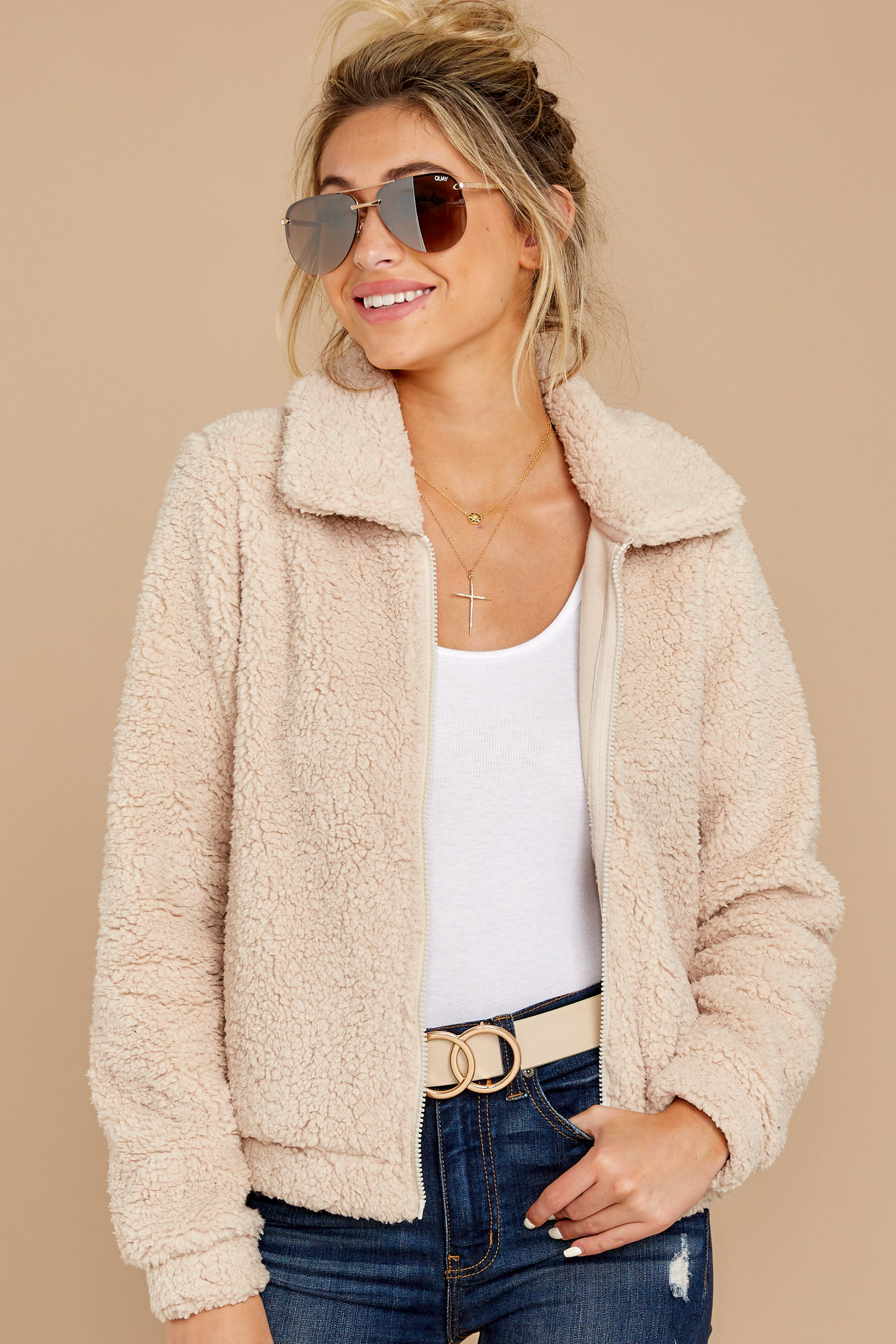 4 The Pearl Sherpa Crop Jacket at reddressboutique.com