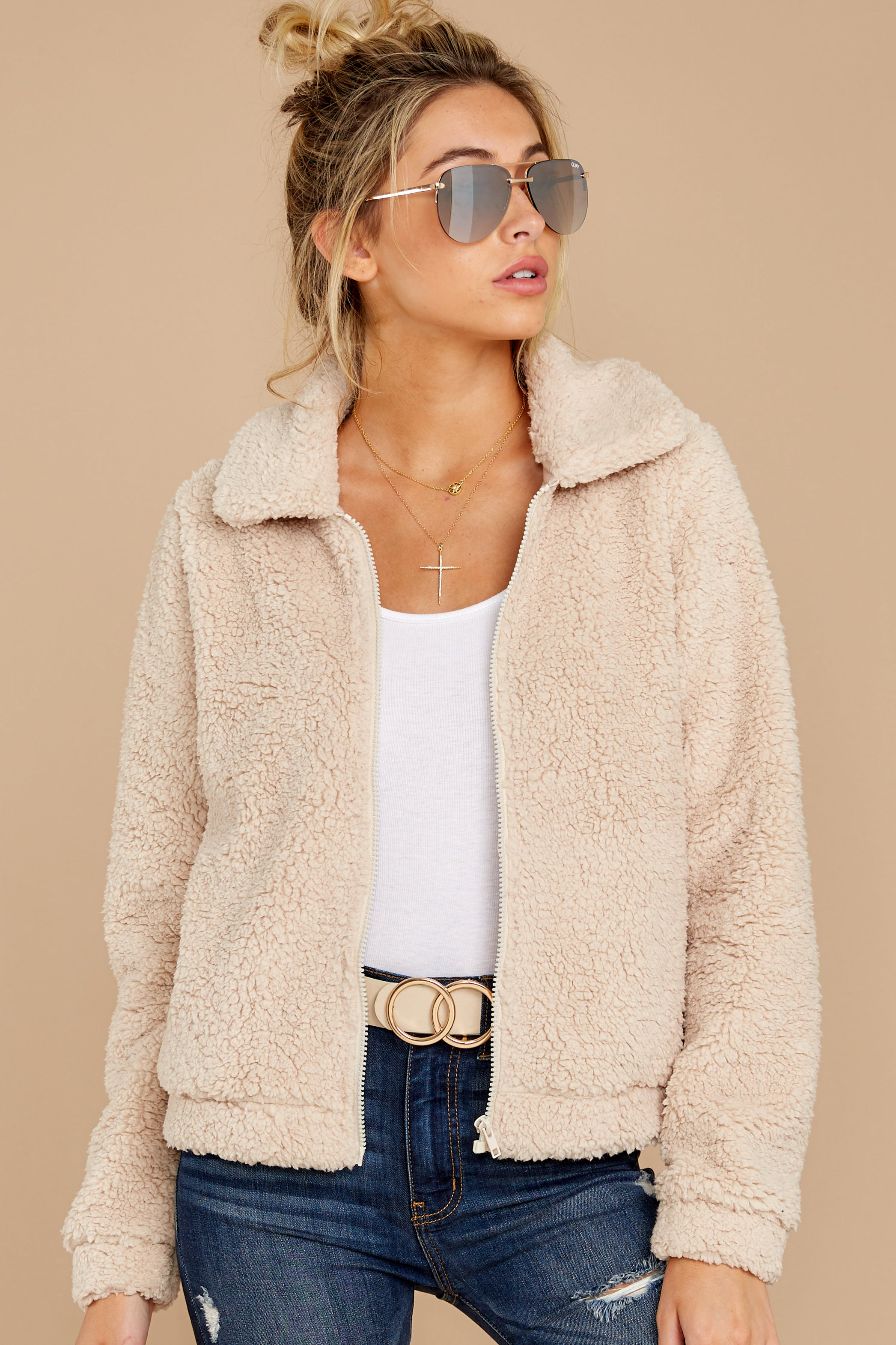 7 The Pearl Sherpa Crop Jacket at reddressboutique.com