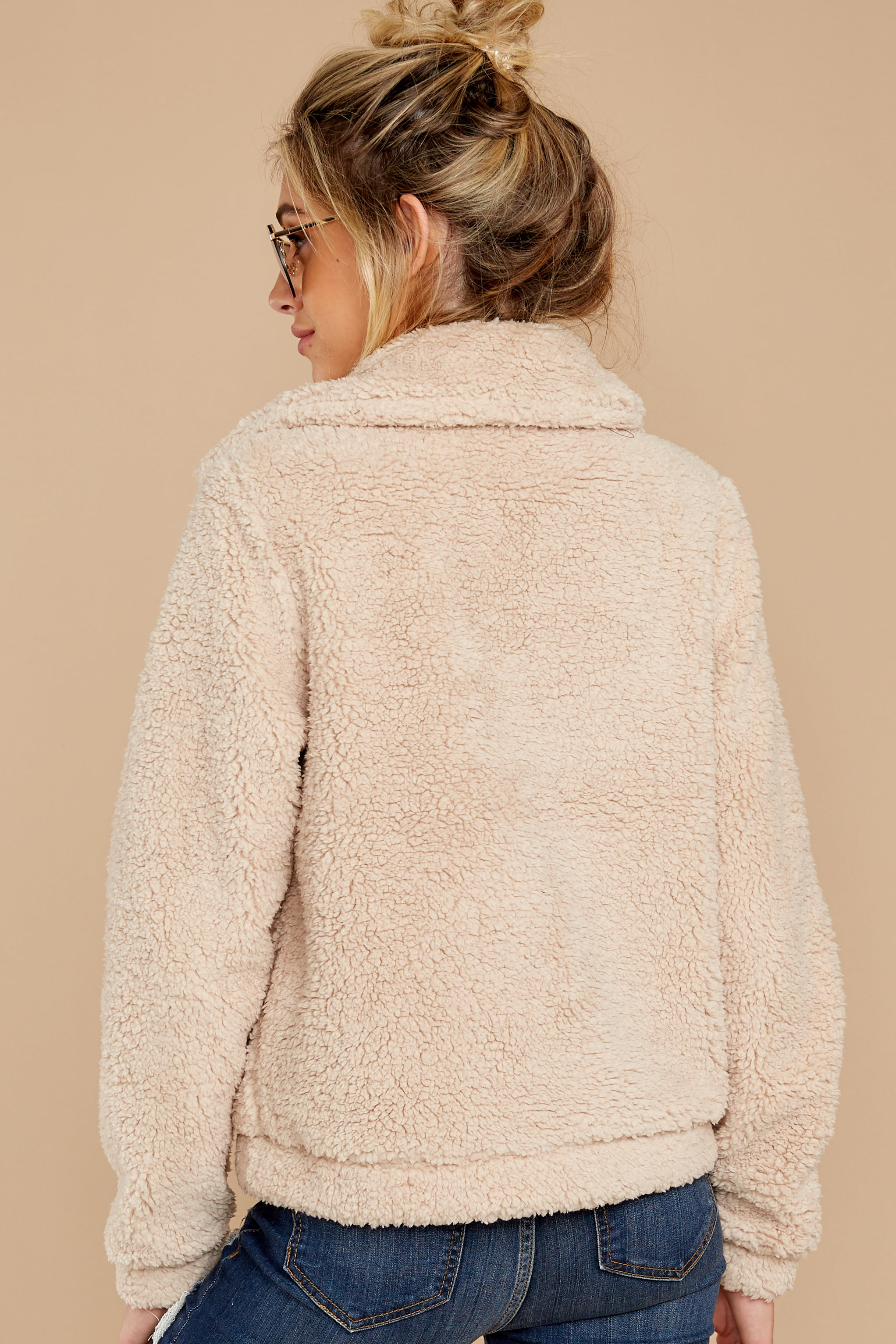 8 The Pearl Sherpa Crop Jacket at reddressboutique.com
