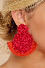 1 On Replay Red Beaded Earrings at reddressboutique.com