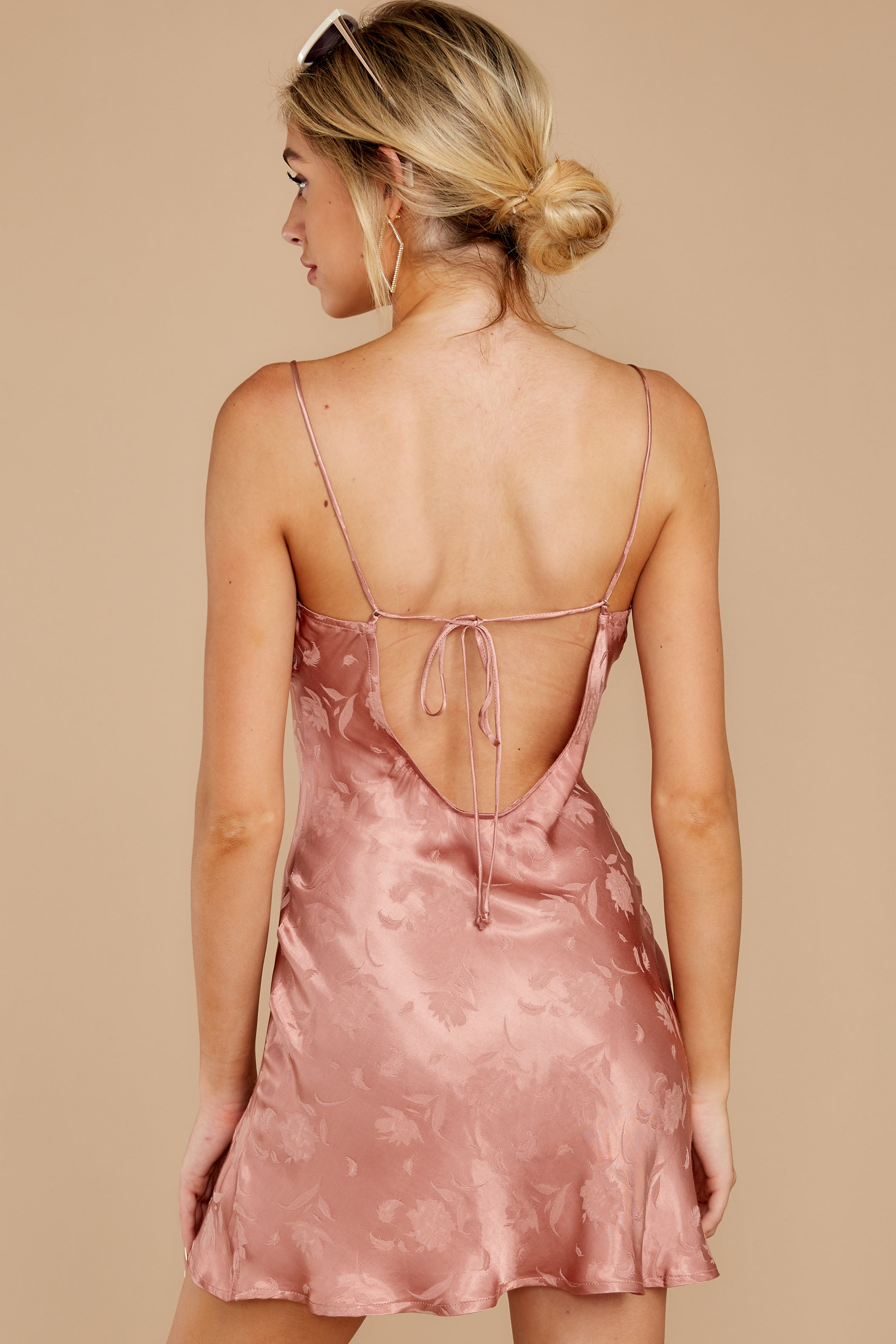 5 Made You Look Mauve Pink Satin Dress at reddress.com