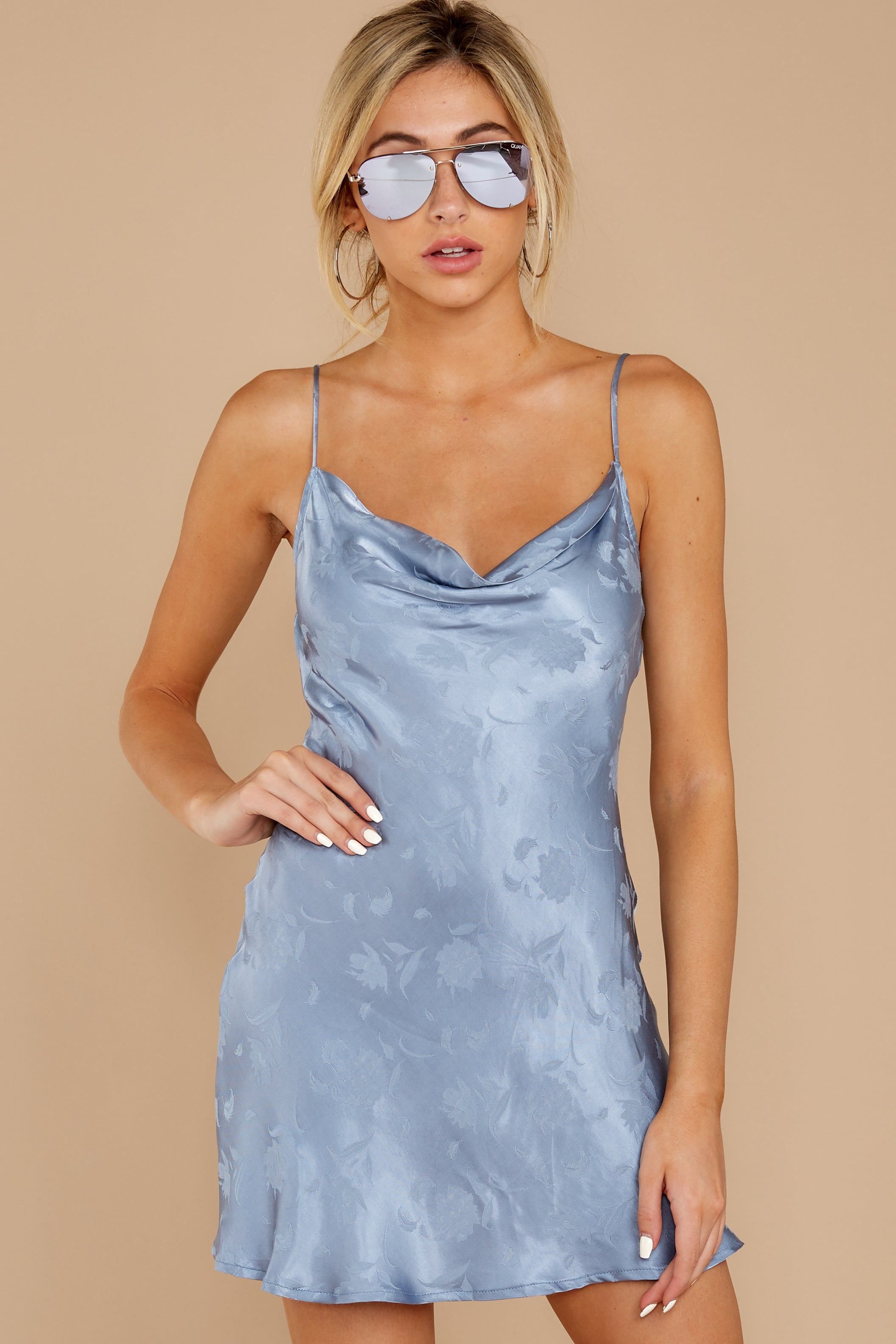 1 Made You Look Dusty Blue Satin Dress at reddressboutique.com