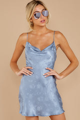 2 Made You Look Dusty Blue Satin Dress at reddressboutique.com
