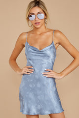 3 Made You Look Dusty Blue Satin Dress at reddressboutique.com