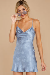 4 Made You Look Dusty Blue Satin Dress at reddressboutique.com