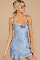 5 Made You Look Dusty Blue Satin Dress at reddressboutique.com