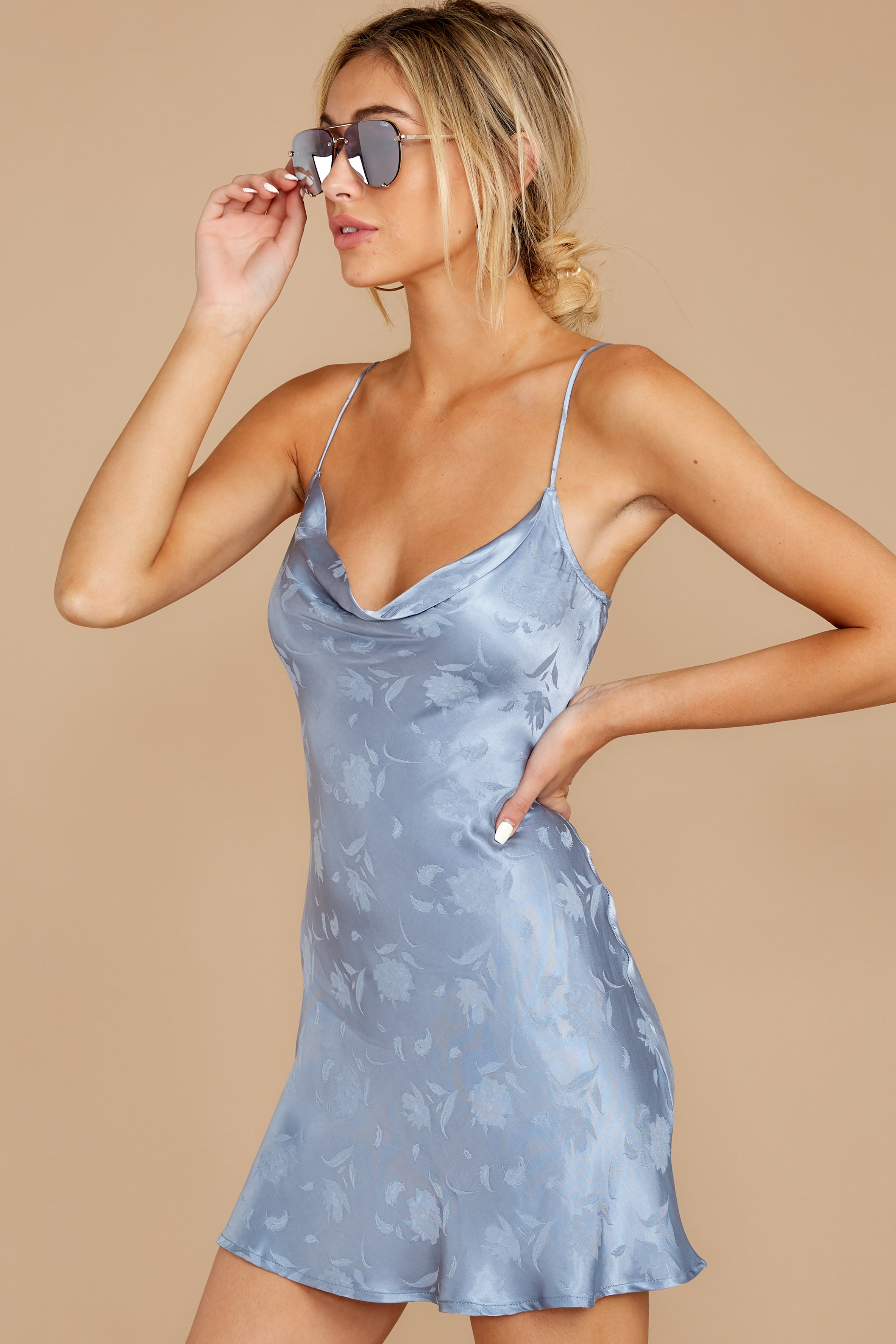 6 Made You Look Dusty Blue Satin Dress at reddressboutique.com