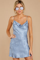 7 Made You Look Dusty Blue Satin Dress at reddressboutique.com