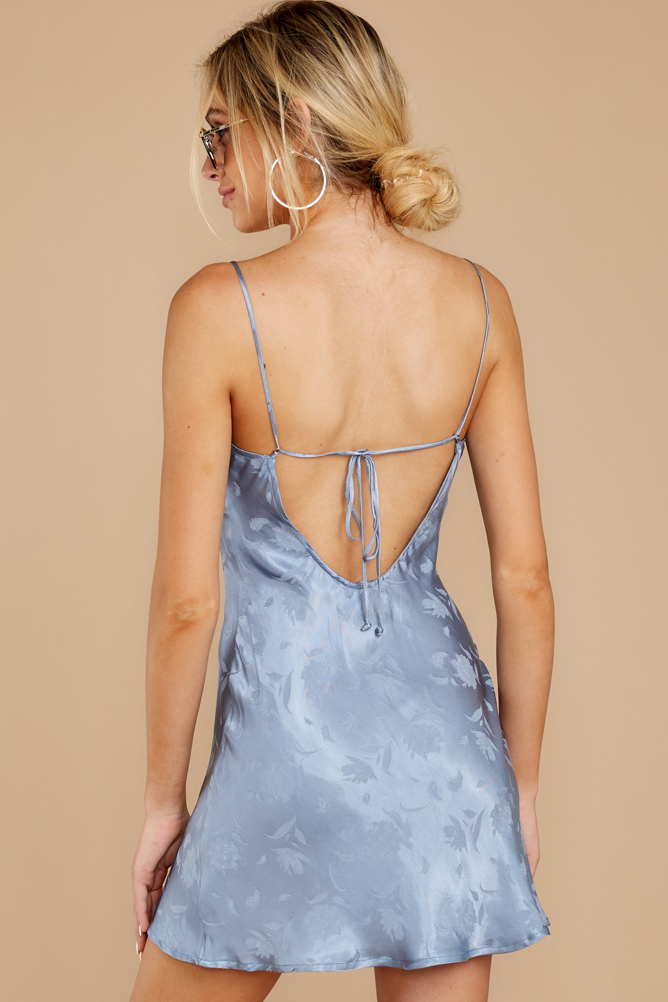 8 Made You Look Dusty Blue Satin Dress at reddressboutique.com