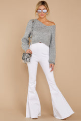 1 It'll Be Me Light Grey Crop Sweater at reddressboutique.com
