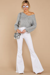 2 It'll Be Me Light Grey Crop Sweater at reddressboutique.com