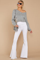 3 It'll Be Me Light Grey Crop Sweater at reddressboutique.com