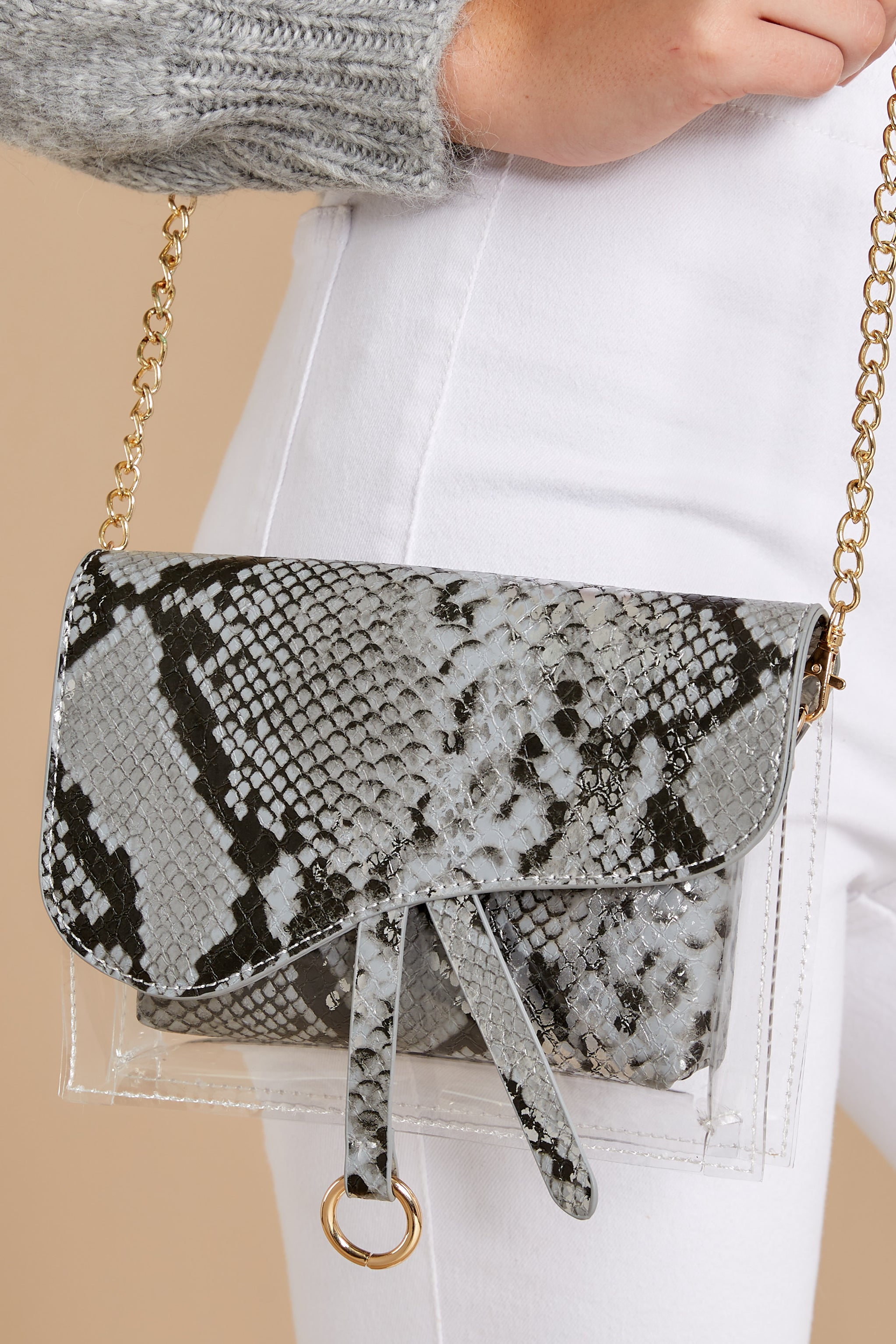 Everyone Will Know Snake Print Purse