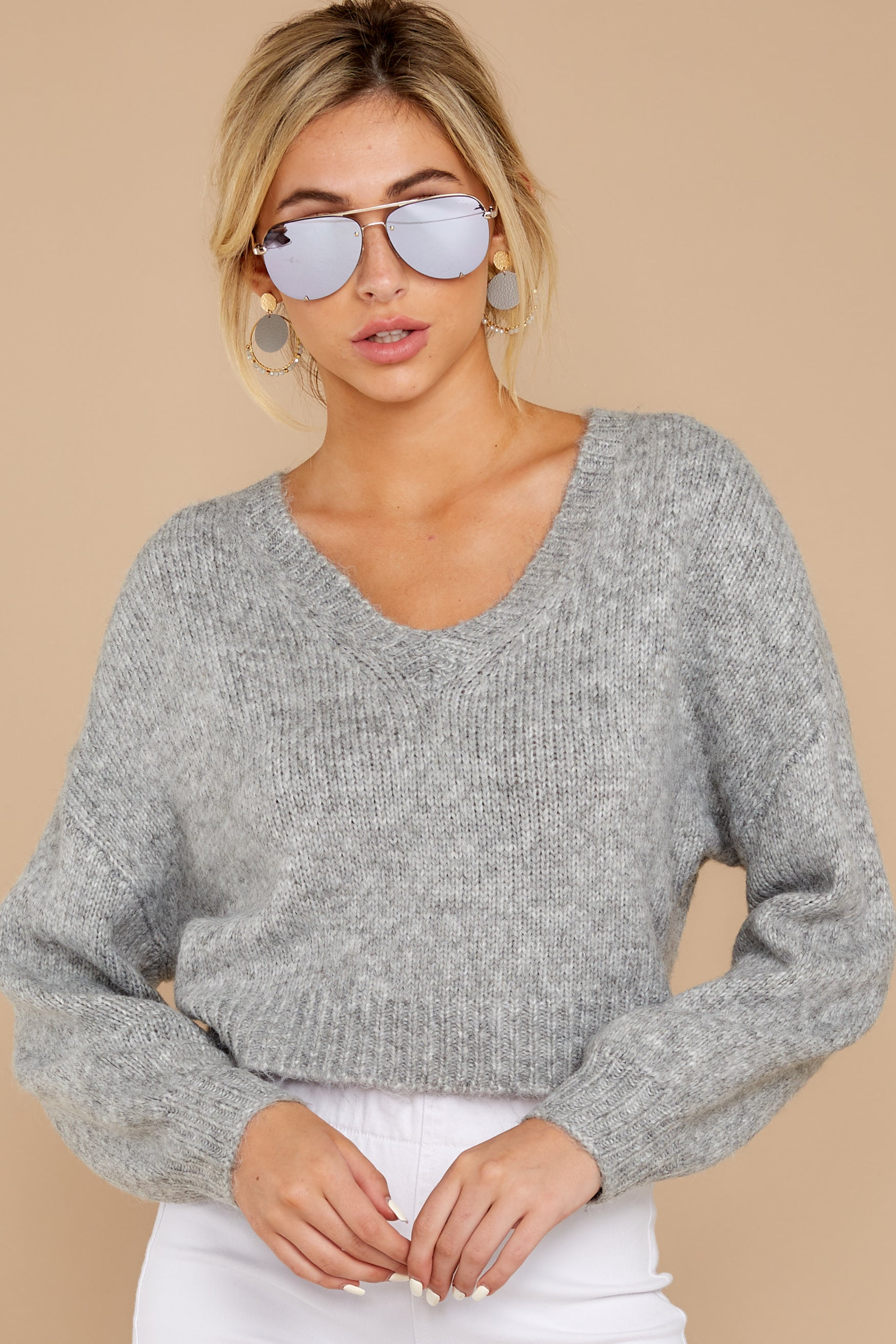 5 It'll Be Me Light Grey Crop Sweater at reddressboutique.com