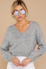 4 It'll Be Me Light Grey Crop Sweater at reddressboutique.com