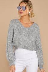 7 It'll Be Me Light Grey Crop Sweater at reddressboutique.com