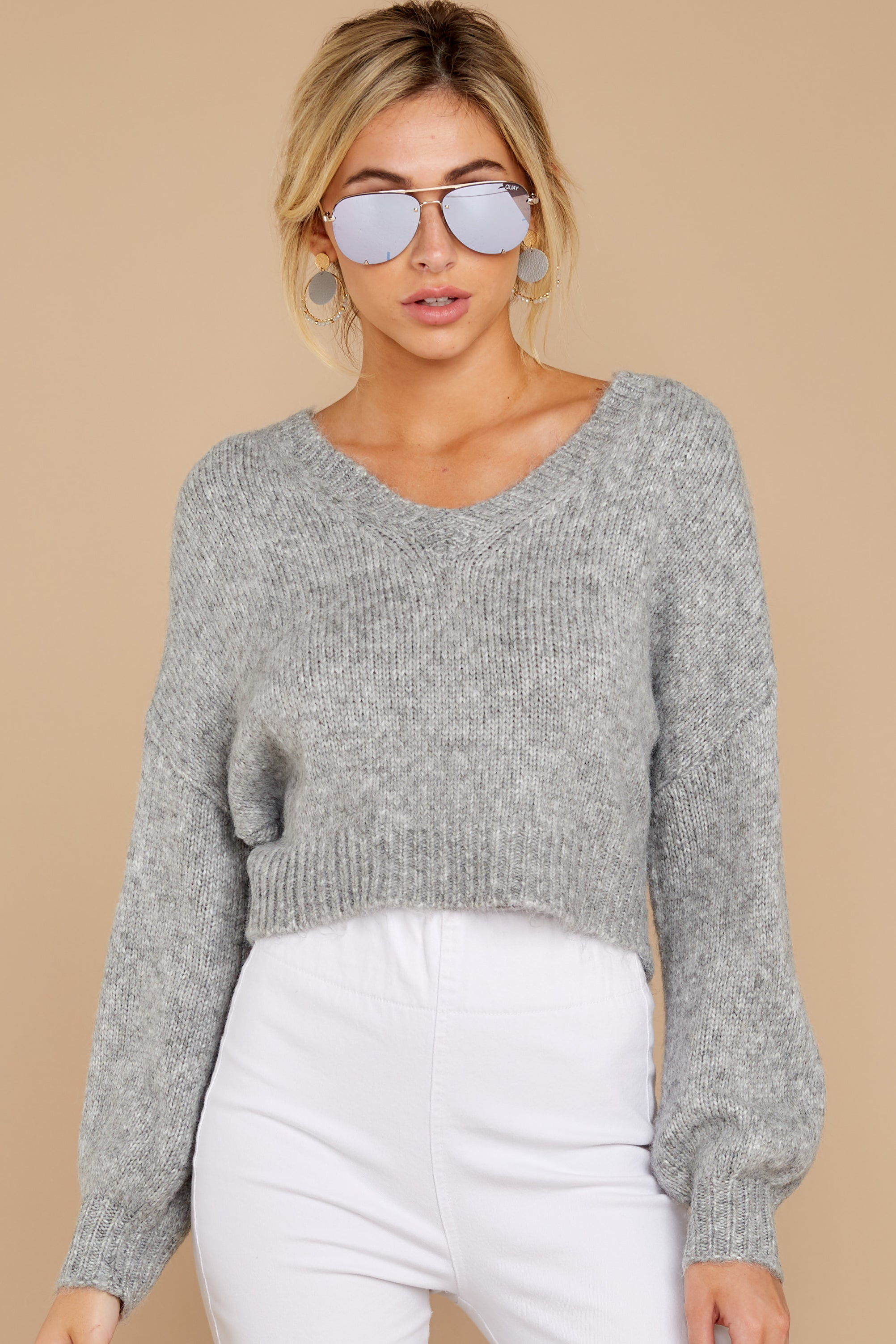 6 It'll Be Me Light Grey Crop Sweater at reddressboutique.com