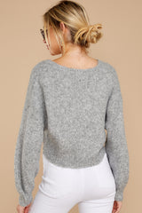 8 It'll Be Me Light Grey Crop Sweater at reddressboutique.com