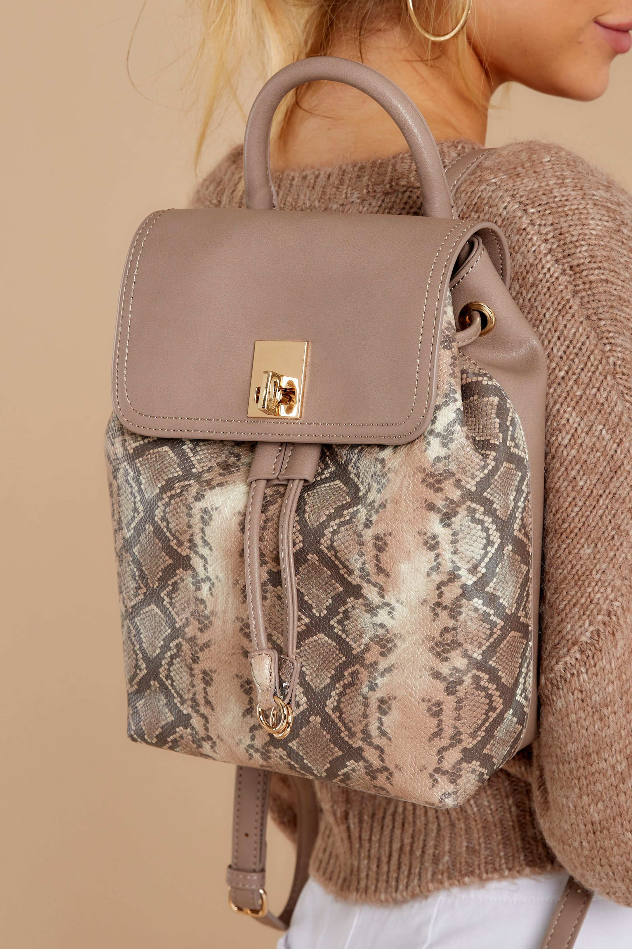 1 Always Leading Taupe Snakeskin Backpack at reddressboutique.com