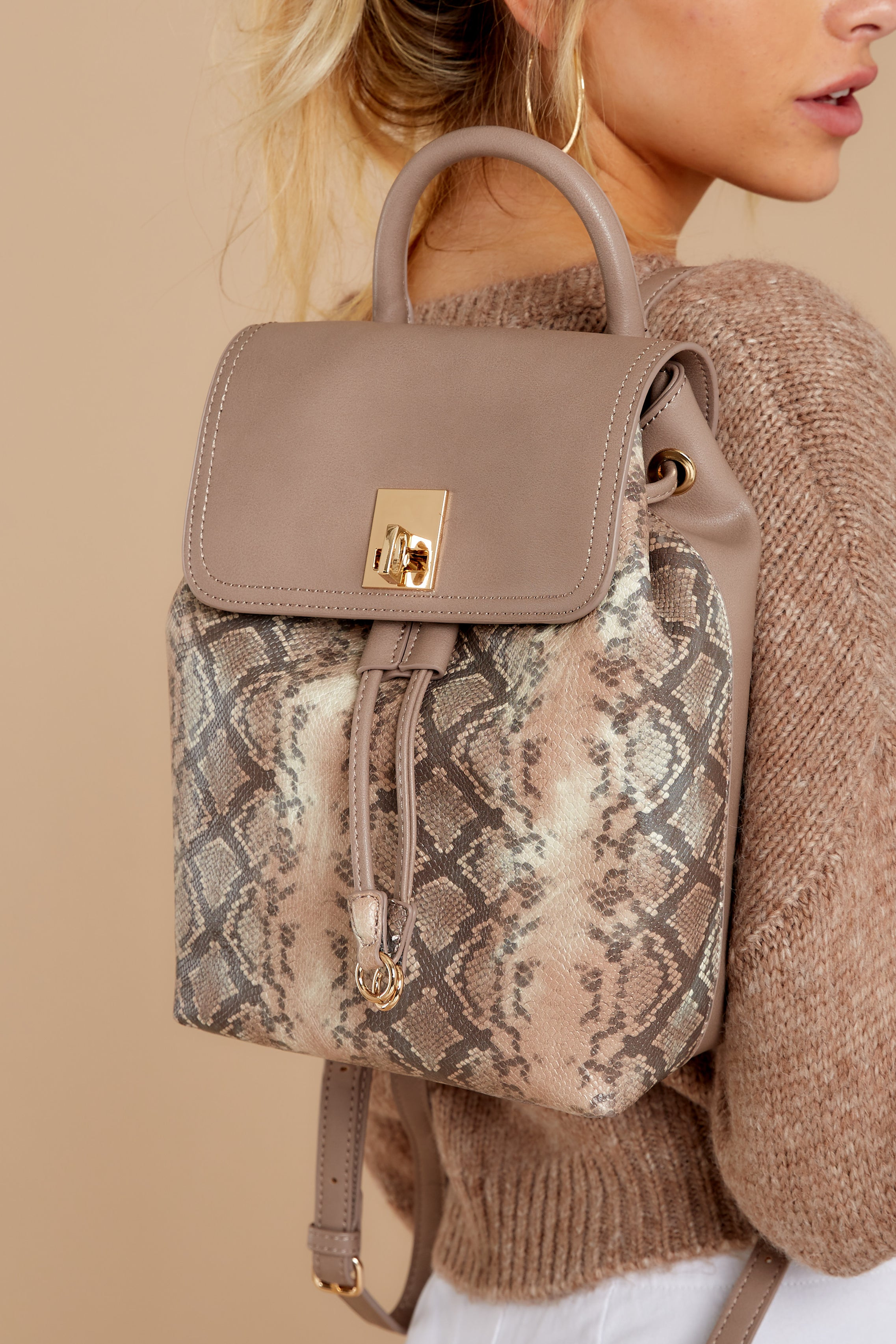 2 Always Leading Taupe Snakeskin Backpack at reddressboutique.com