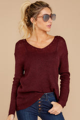4 Through The Window Dark Wine Sweater at reddressboutique.com