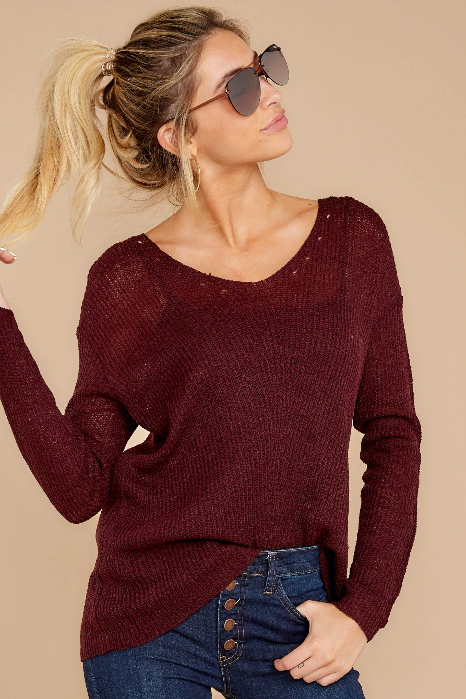 5 Through The Window Dark Wine Sweater at reddress.com