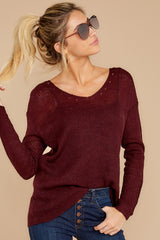 5 Through The Window Dark Wine Sweater at reddressboutique.com