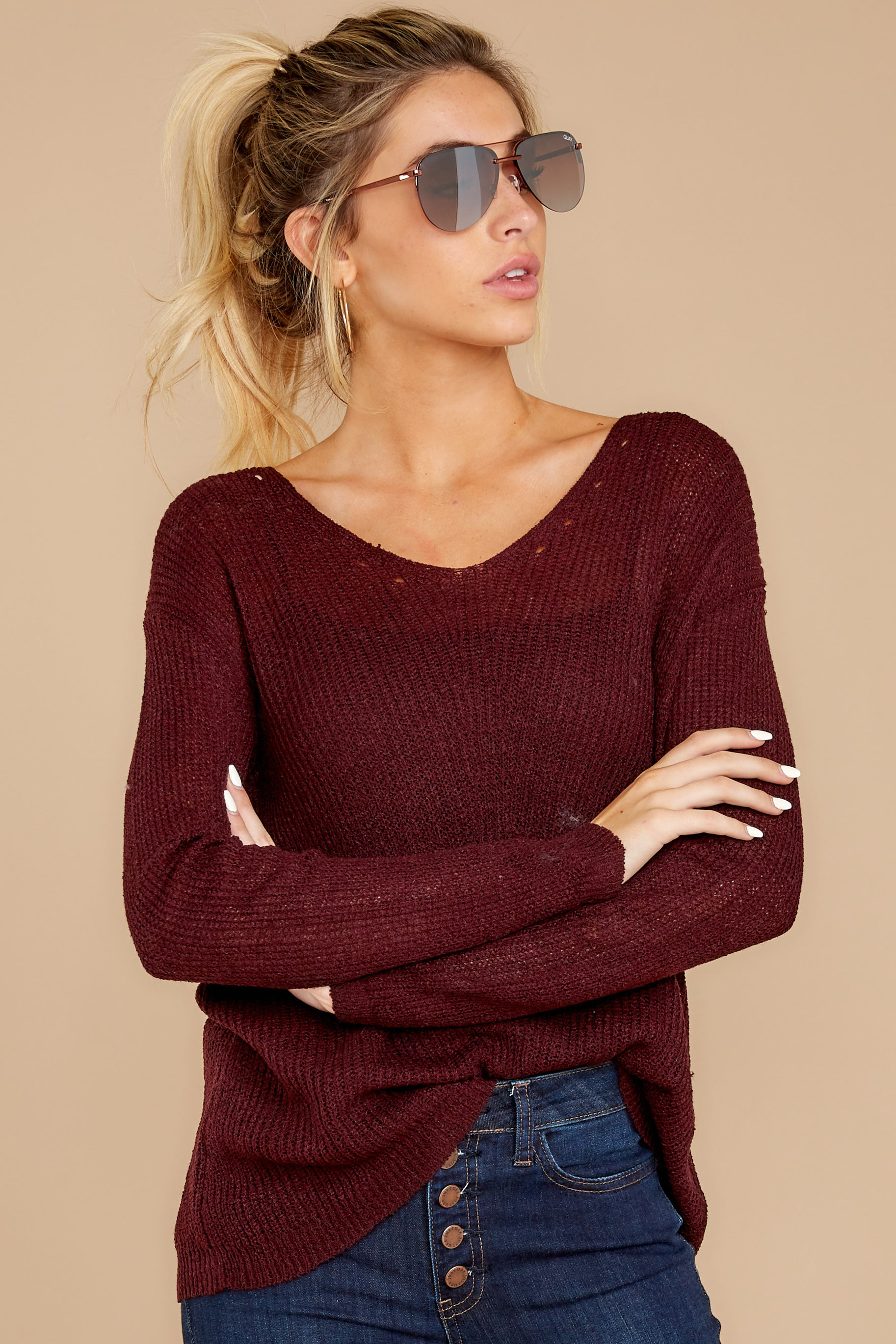 6 Through The Window Dark Wine Sweater at reddressboutique.com