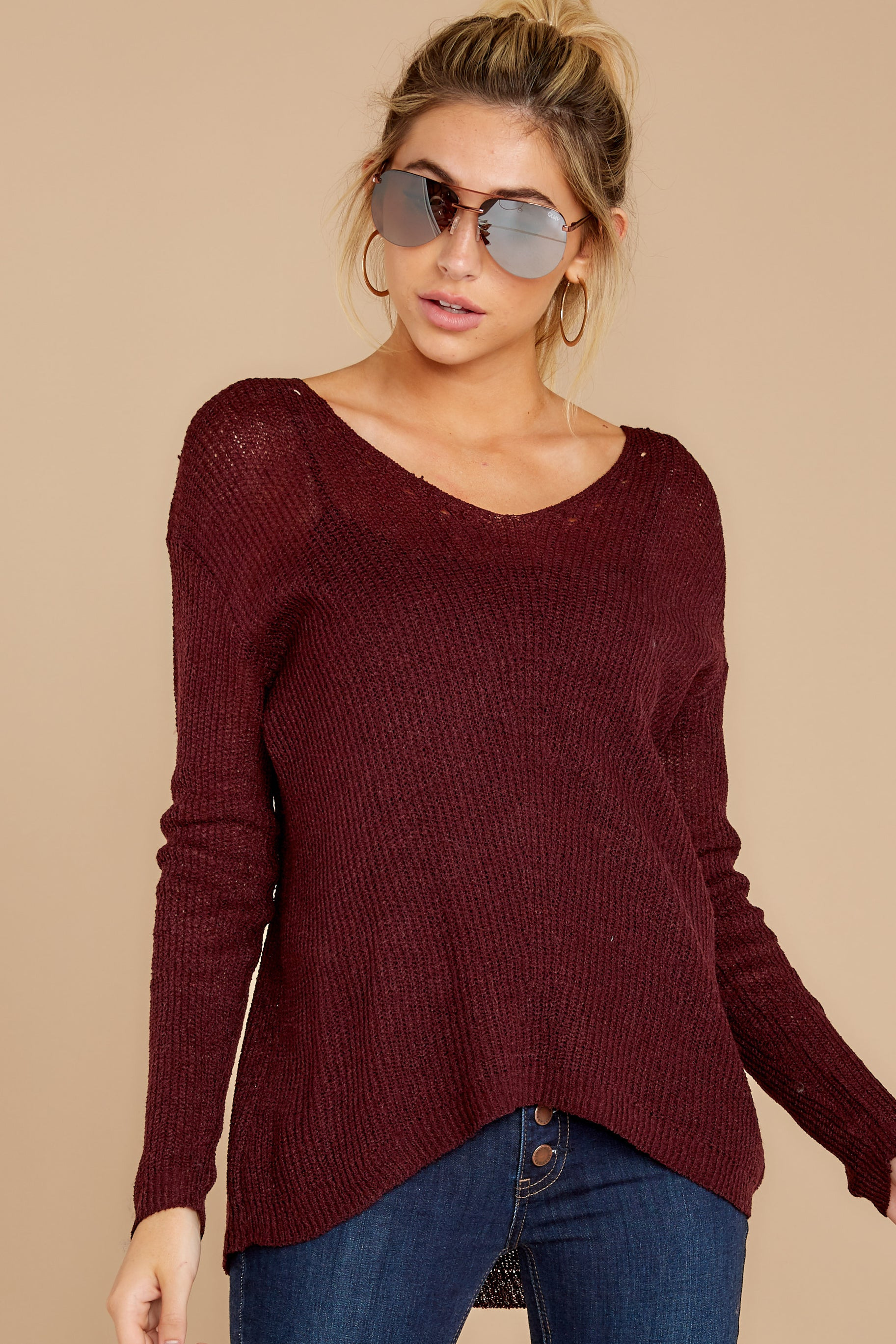 7 Through The Window Dark Wine Sweater at reddressboutique.com