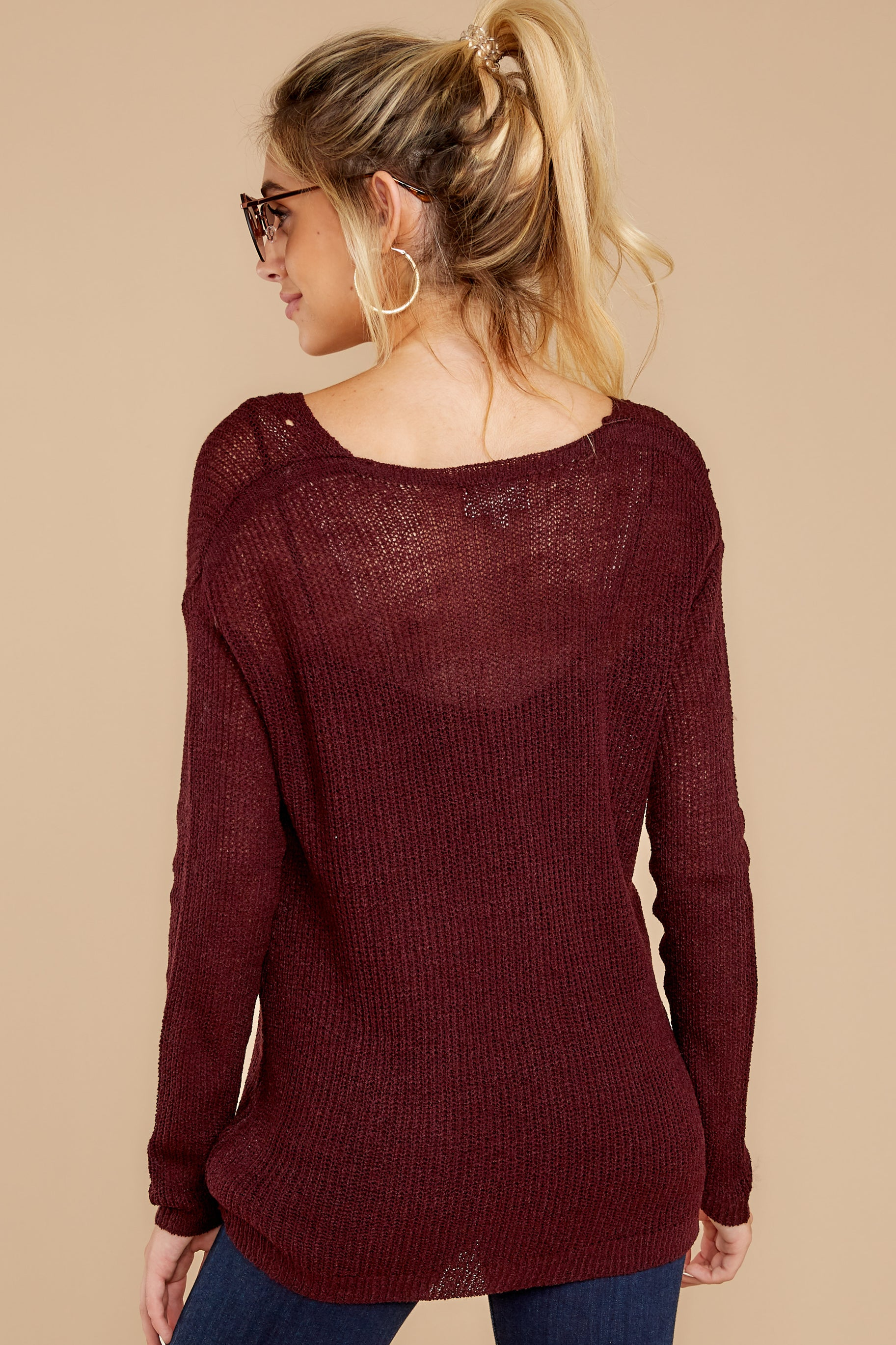 8 Through The Window Dark Wine Sweater at reddress.com
