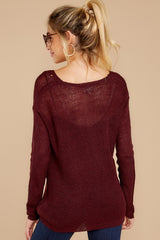 8 Through The Window Dark Wine Sweater at reddressboutique.com
