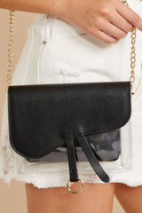 2 Everyone Will Know Black And Clear Purse at reddressboutique.com