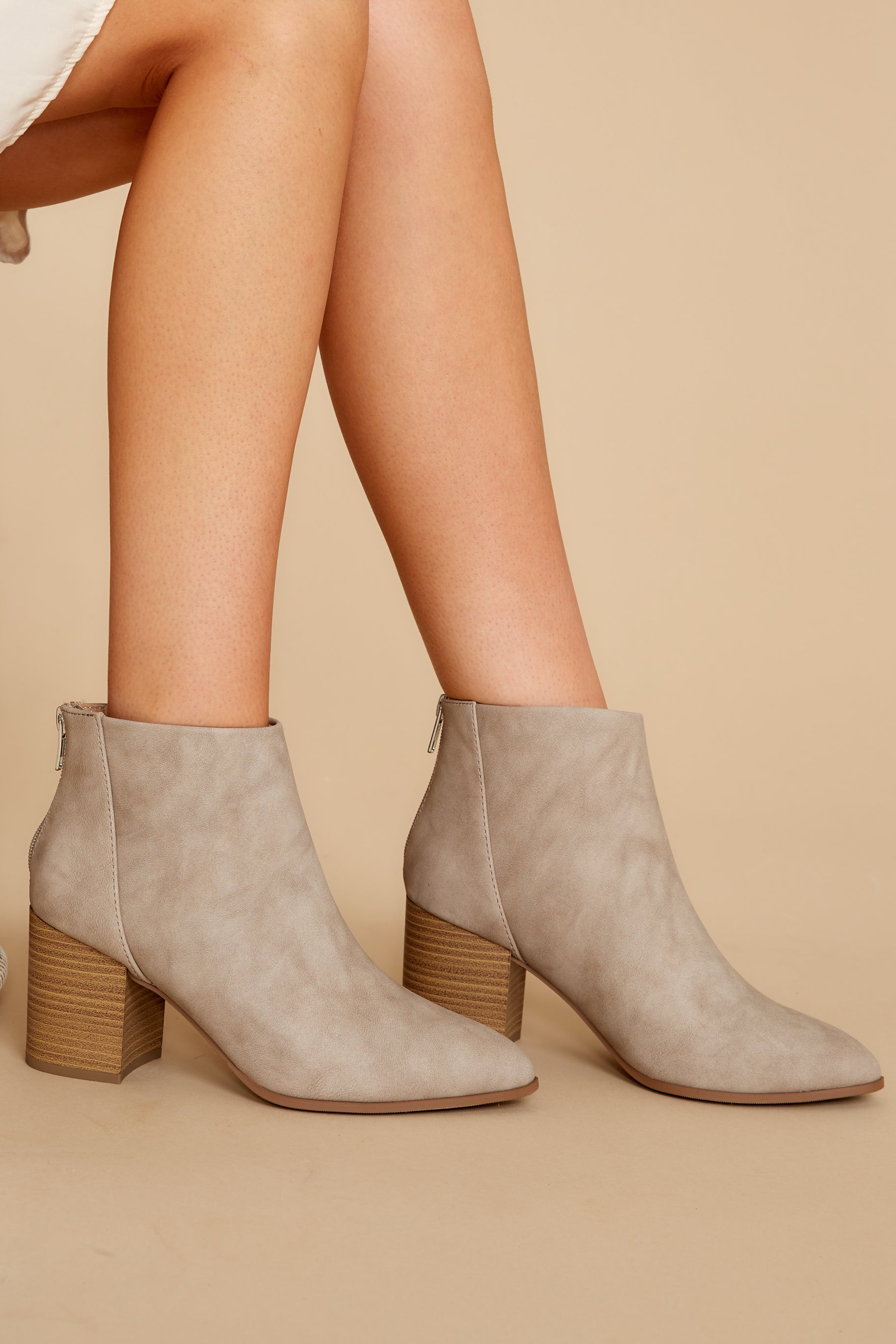 2 Finding Your Voice Taupe Ankle Booties at reddress.com