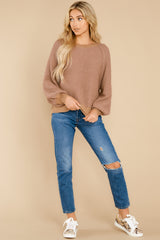 4 Feeling Carefree Mocha Sweater at reddress.com