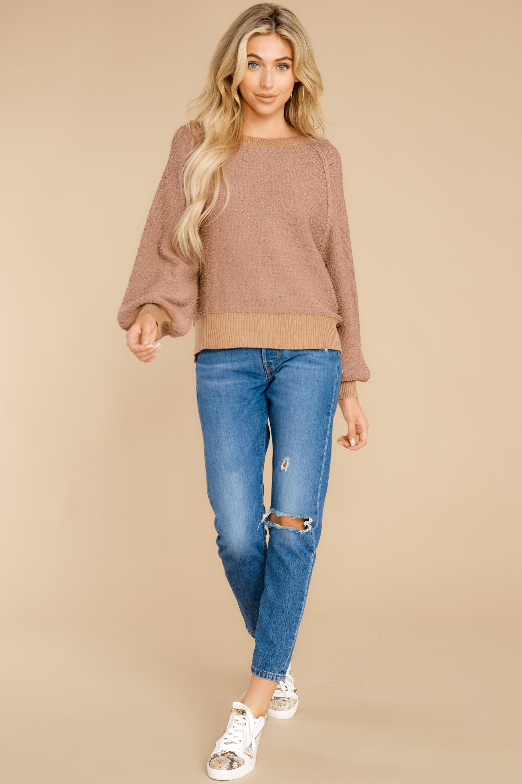 5 Feeling Carefree Mocha Sweater at reddress.com