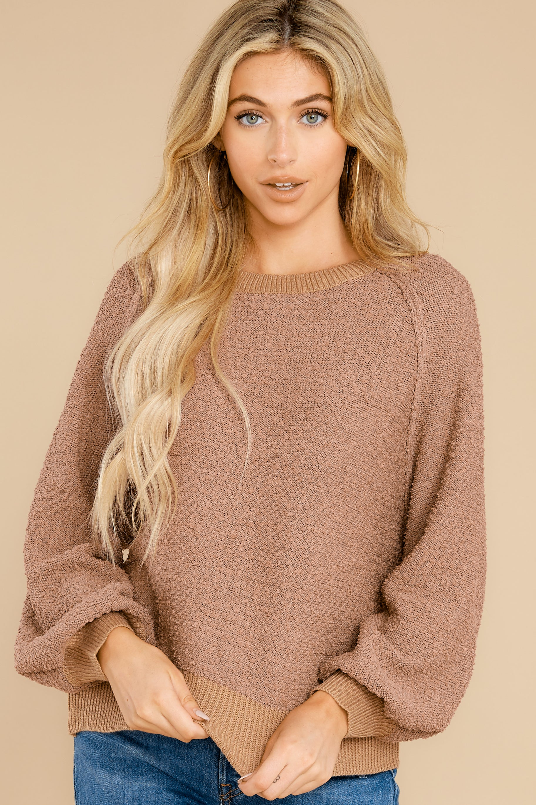 6 Feeling Carefree Mocha Sweater at reddress.com
