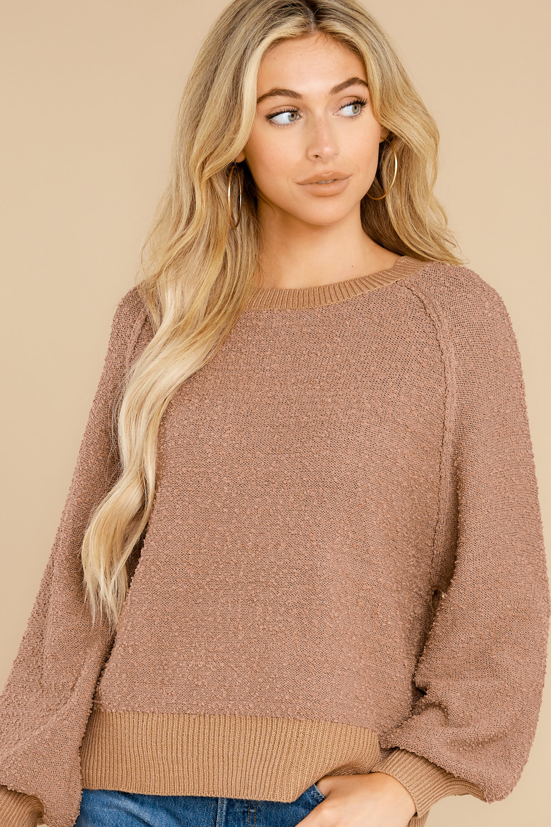 2 Feeling Carefree Mocha Sweater at reddress.com