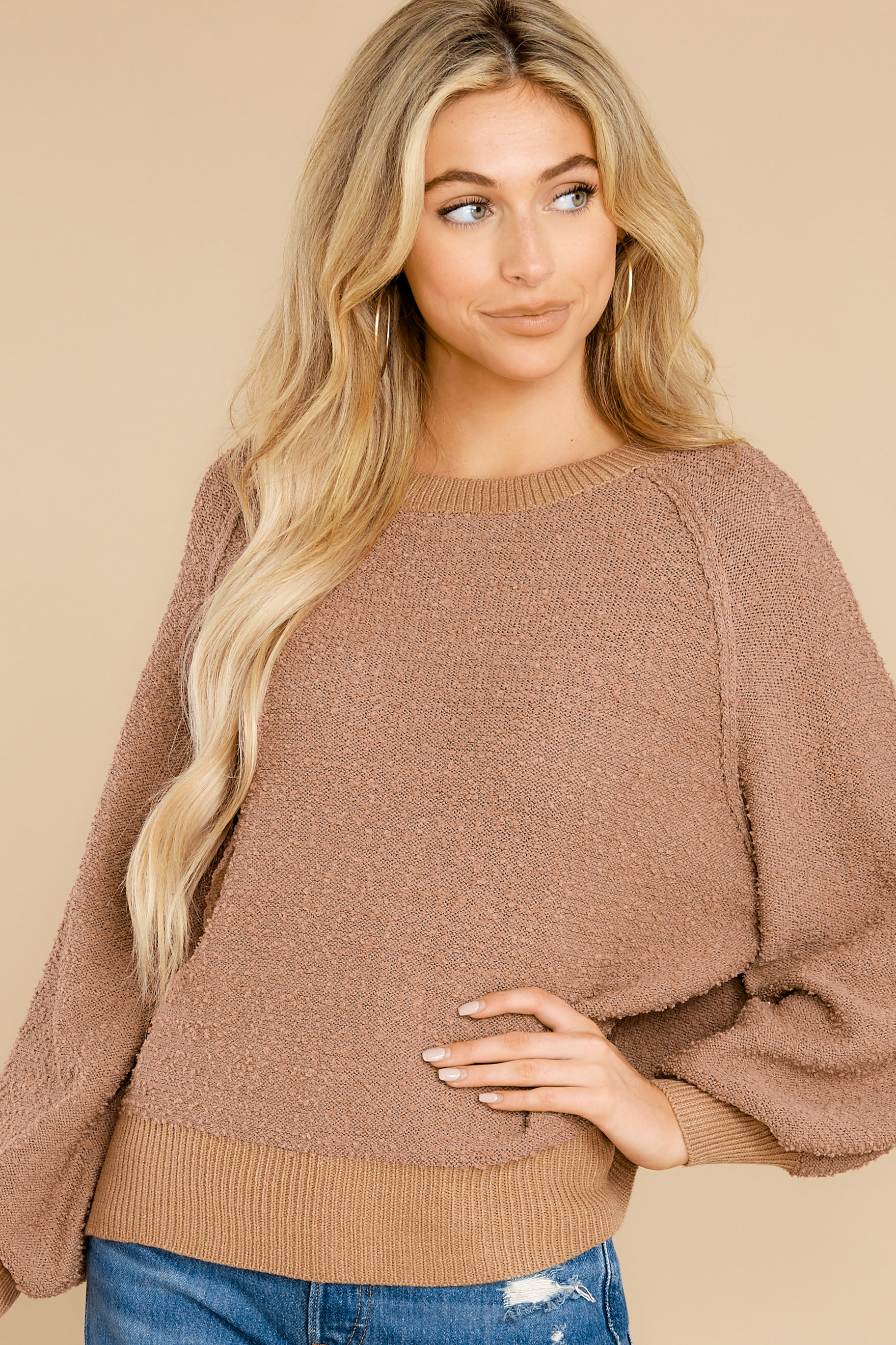 1 Feeling Carefree Mocha Sweater at reddress.com