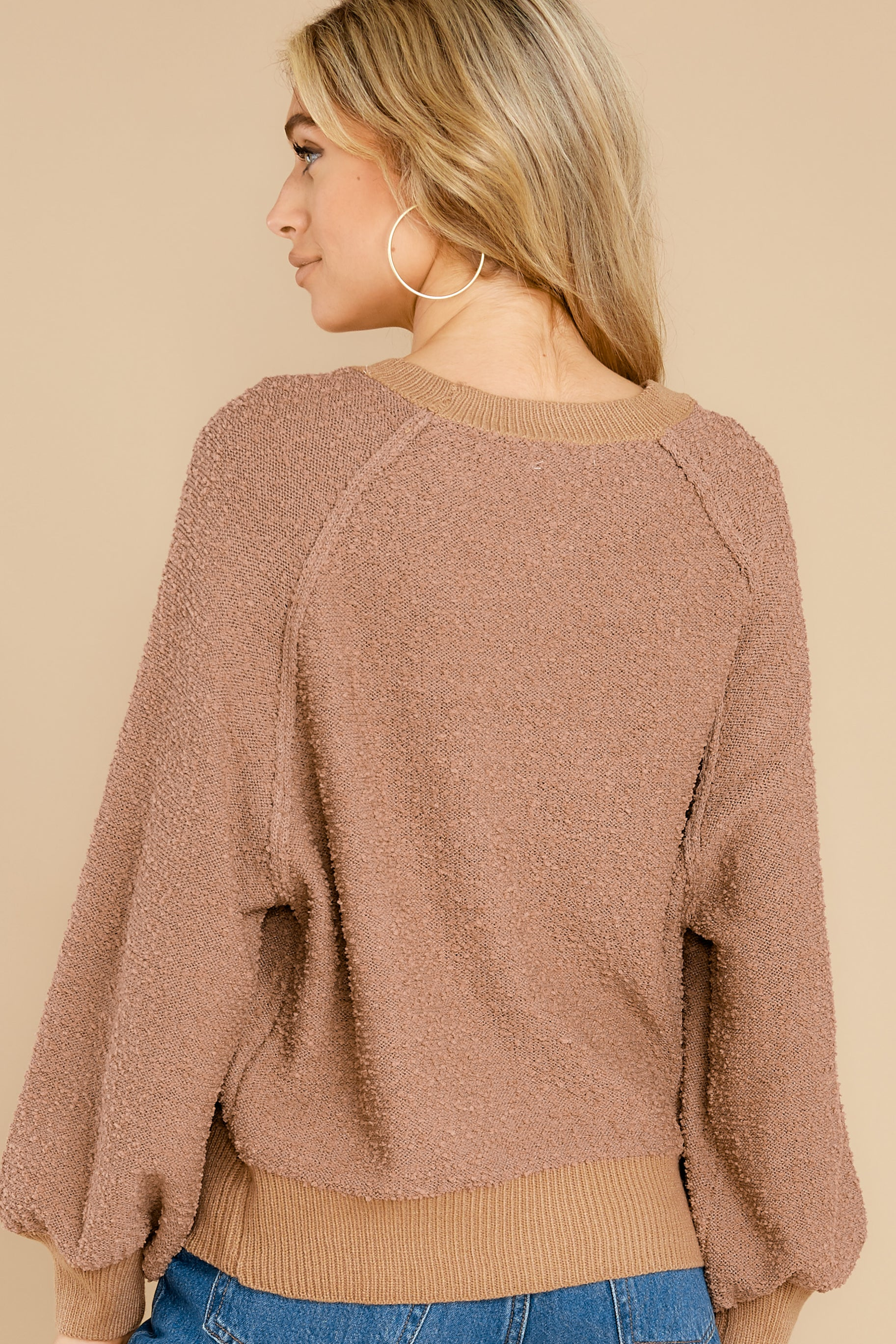 7 Feeling Carefree Mocha Sweater at reddress.com
