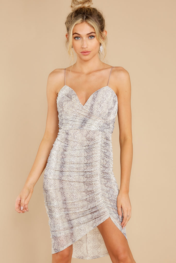 4 Sleight Of Hand Grey Snake Print Dress at reddress.com