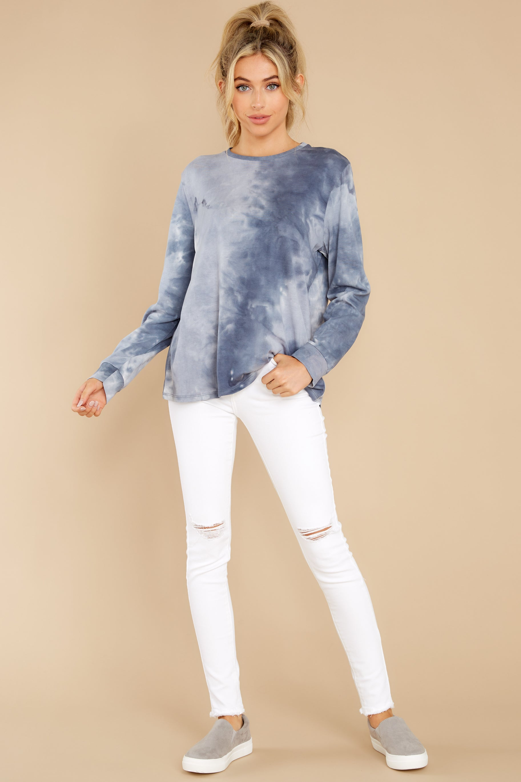 4 On Your Mind Slate Blue Tie Dye Top at reddress.com