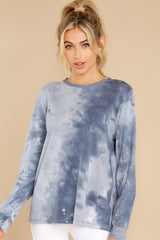 7 On Your Mind Slate Blue Tie Dye Top at reddress.com