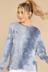 2 On Your Mind Slate Blue Tie Dye Top at reddress.com